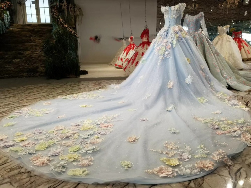 Weddings & Events 2017 Romantic Luxury Flowers Appliques Crystals Sequins Colors Wedding Dress Organza Cathedral Train