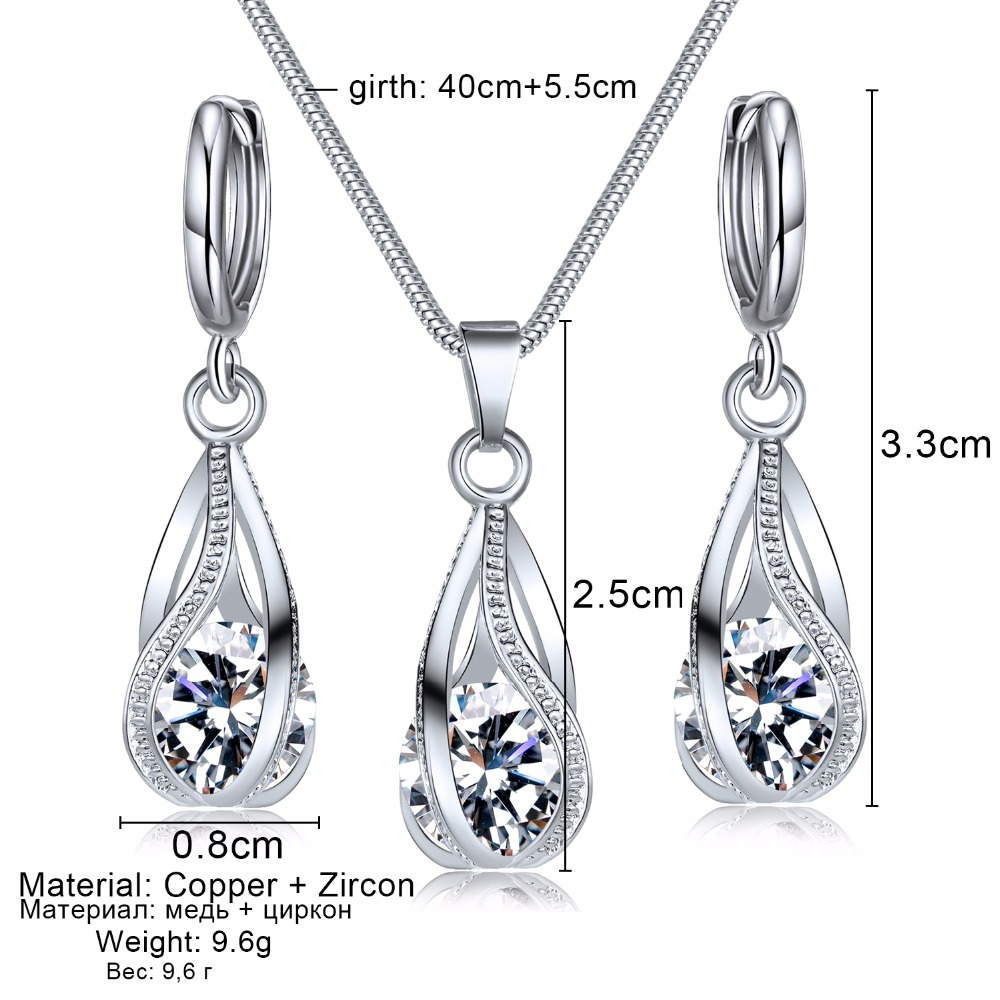 VKME2018 New Fashion Crystal Jewelry Set Zircon Necklace Earrings Set Decoration