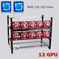 12 GPU Mining Frame With 10 X LED Fans Aluminum Stackable Mining Bracket For Ethereum BTC