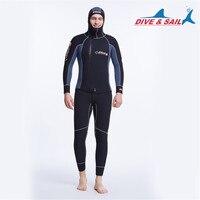 5 мм неопрена Длинные рукава комбинезон для Для Мужчин гидрокостюм Подводное погружение куртка гидрокостюм Топ зима Плавание теплый прибой