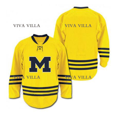 University of Michigan Hockey Jersey Stitched Customize any number and name College Men Ice Hockey Jersey VIVA VILLA 2015 61 men s hockey jersey