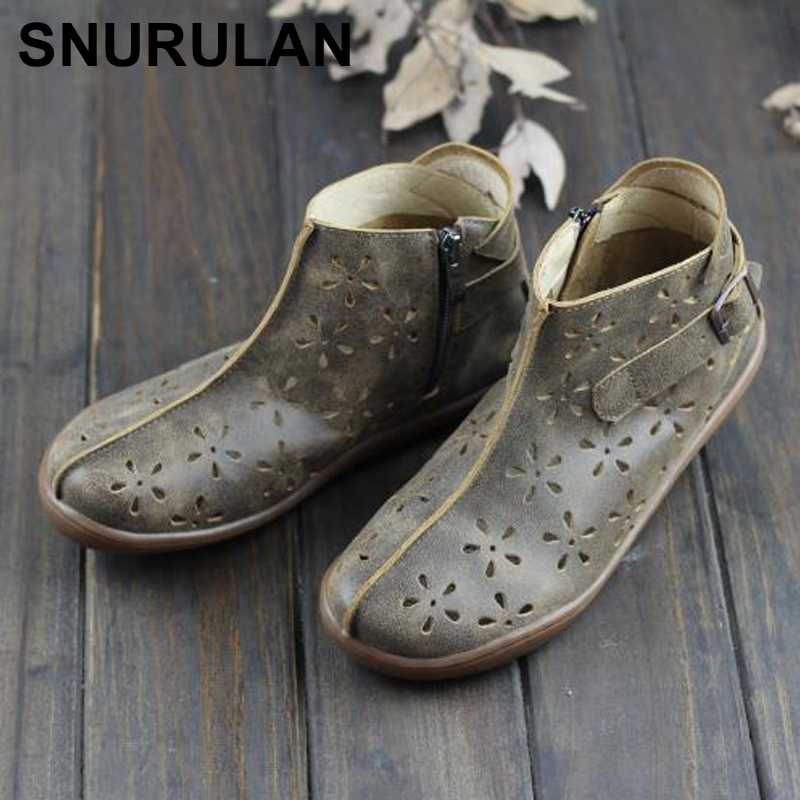 SNURULAN Summer Boots Women Genuine Leather Woman Ankle Boots Hollow out Women s Summer Shoes Plus