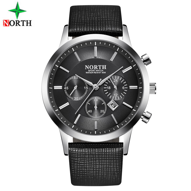 Sport Watch Men Leather NORTH Mens Watches Top Brand Luxury Watch Clock Waterproof Quartz Military WristWatch Men Sport Watches didun mens watches top brand luxury watches men steel quartz brand watches men business watch luminous wristwatch water resist