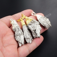 BOROSA 5pcs New Natural Gold Cap Or Silver Cap Titanium Silver Tourmaline Pendant WX051 Drusy Jewelry DIY For Women
