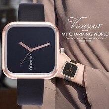 Vansvar Fashion Classic Women's Watches Unique Square Dial Quartz Wristwatches Casual Leather Strap Exquisite Women's Gifts