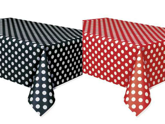 free shipping 30pcs minnie mouse polka dots table covers red & black