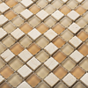 Brown Color Crystal Glass Mixed Stone Mosaic Tiles HMGM2021 For Kitchen Backsplash Tile Bathroom Shower Hallway