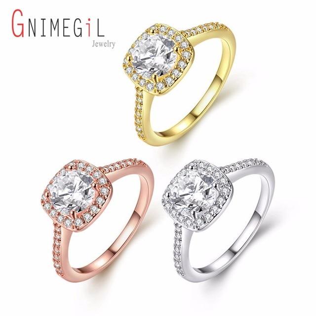 GNIMEGIL Silver/Gold/Rose Gold Engagement Rings For Women Cubic Zircon Fashion B