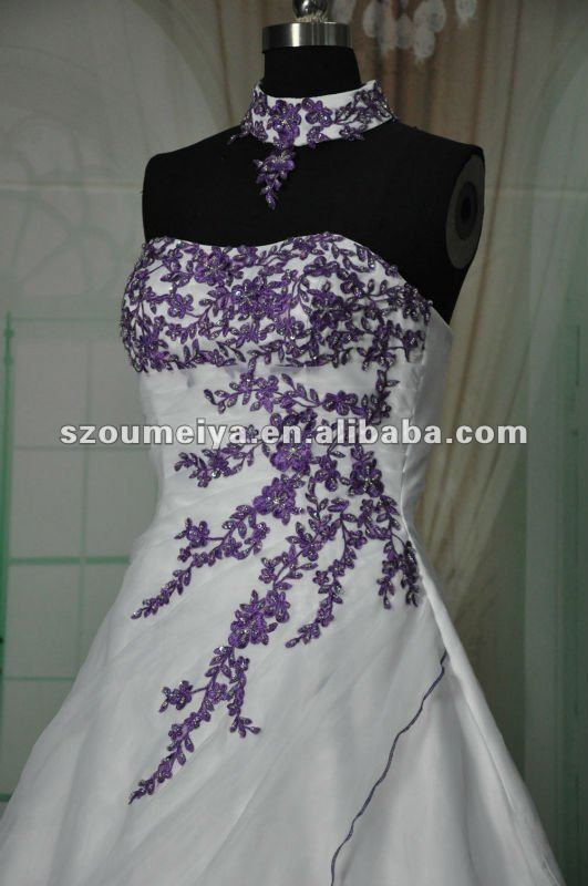 MZY1426 Real Samples Strapless Purple Lace Appliques Organza A Line Wedding Dress Bridal Gown Vestido De Noiva Custom Made In Dresses From Weddings