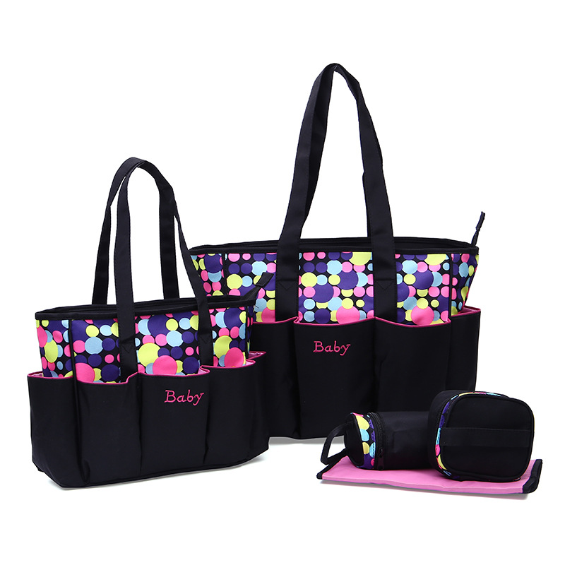Multifunctional 5 pcs baby care tote diaper bags set Large capacity mother shoulder maternity bag infant nappy changing product 5 pcs set fashion multicolored tote nappy bags baby diaper bags cross body multifunctional mummy maternity baby bag high quality