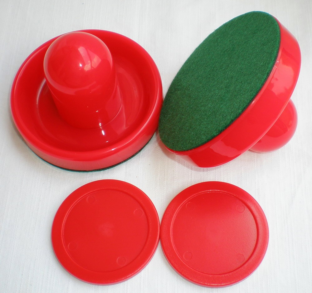 FREE SHIPPING Air Hockey Table Red 2PCS 96mm Goalies Mallets Felt Pusher 2PCS 63mm Red Puck