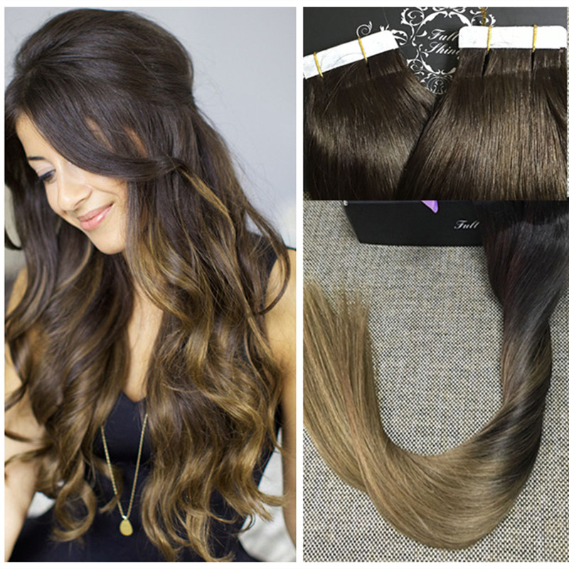 Full Shine Cheap Price 100 Real Human Hair Tape Extensions Ombre