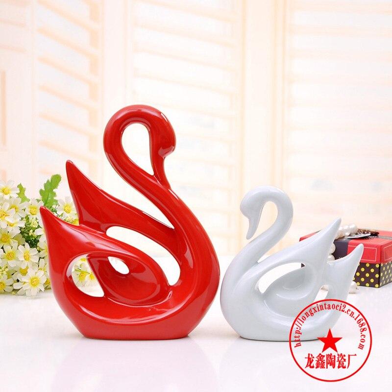 Swan - 2 ks / dvojice keramické slonové figurky milovníky zvířat pár porcelán svatební dar domácí kabinet obývací pokoj dekor