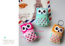 NEW Kawaii 3Colors - Embroidery OWL 6CM Keychain DOLL ; Stuffed Plush TOY & Gift Key Ring Pendant TOY , Wedding Bouquet TOY DOLL(China)