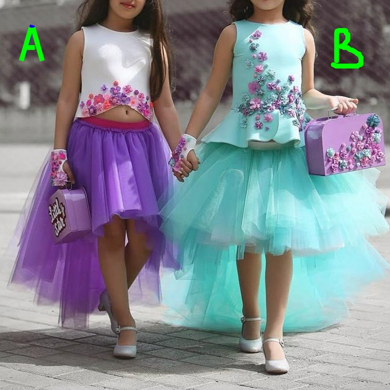 Colorful Two Pieces   Girls   Pageant Gowns 3D Floral Applique Tulle vestido de daminha Puffy Skirt   Flower     Girl     Dresses   For Wedding