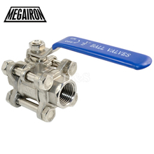 """MEGAIRON BSPT 1/2"""" DN15 3 Piece Full Port Ball Valve Thread Type Stainless Steel 316 1000psi Handle with Blue Vinly Insulation"""