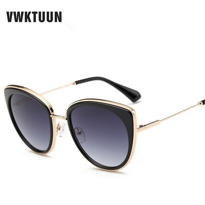 VWKTUUN Oversized Cat Eye Sunglasses Mulheres Designer de Marca de Luxo Homens  óculos de Sol Da Liga Espelho Pernas Óculos UV400 Oculos Feminino 4799b16636