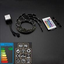 Светодиодный Стинг ТВ кабинет Celing фон свет низкая Напряжение маленьких satey USB зарядки набор с контроллером RGB и удаленный 4 шт.