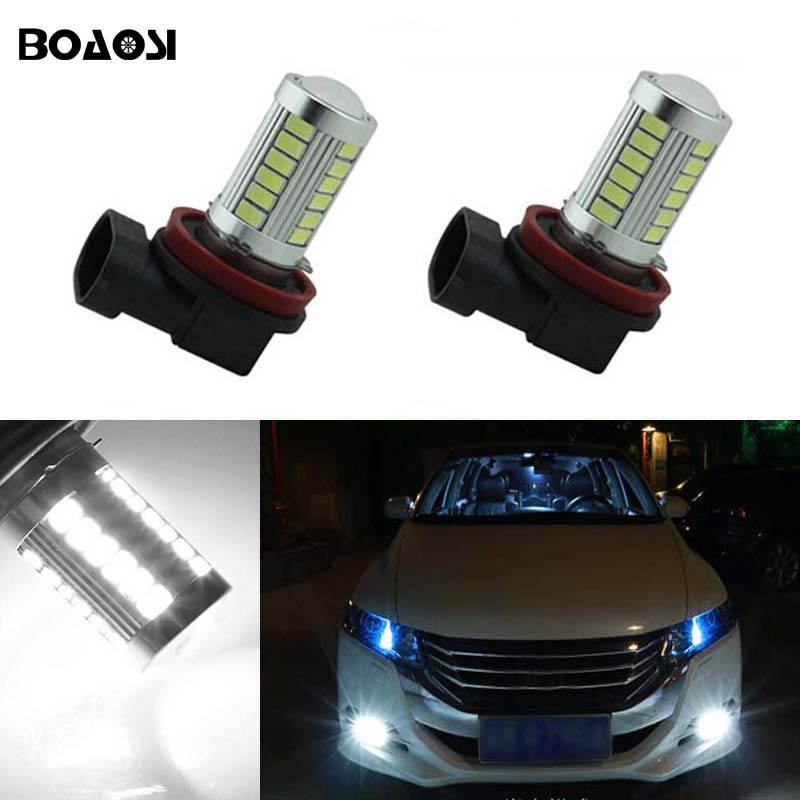 BOAOSI 2x H11 H8 LED Car Canbus Bulbs Reflector Mirror Design For Fog Lights For honda civic fit accord Crider crv boaosi 1x 9006 hb4 car canbus bulbs reflector mirror design fog lights no error for vw golf 6 mk6 scirocco t5 transporter