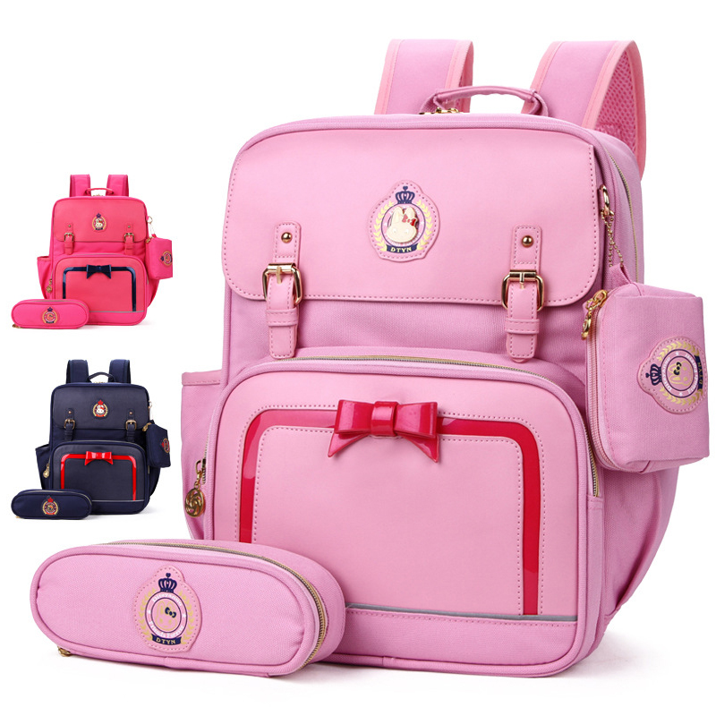 Girls Schoolbags Kids Bow-knot Satchel School Backpack Pencil Case Set Children Primary School Bag for Boys Mochila InfantilGirls Schoolbags Kids Bow-knot Satchel School Backpack Pencil Case Set Children Primary School Bag for Boys Mochila Infantil