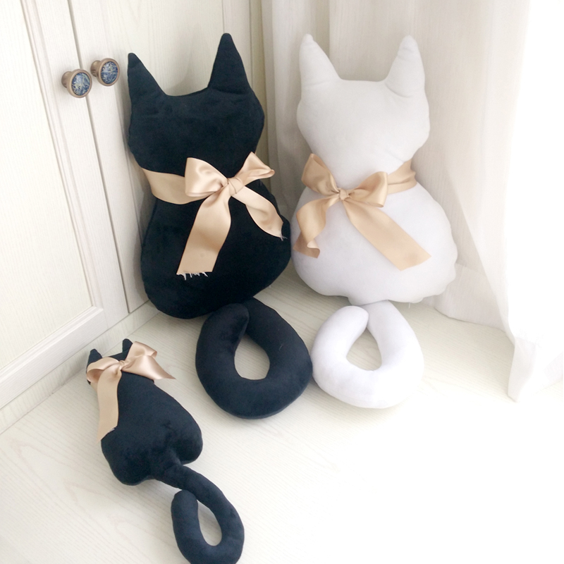 Cute Stuffed Animal Plush Cat Toy Cat Back Shadow With Bowknot Cushion Pillow For Seat Sofa Bed Room Decoration