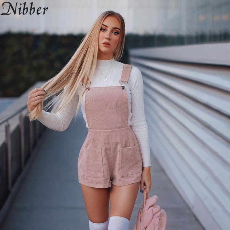 Nibber spring new pink basic playsuits women's Bib shorts 2019 hot Casual ladies sleeveless sling jumpsuits Hip hop Street wear