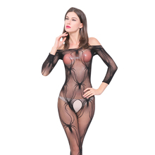 Sexy Fishnet Babydoll BodyStockings Ladies Crochet Lingerie Hot Sexy Spider Transparente Pajamas Sleepwear Fishnet FN076