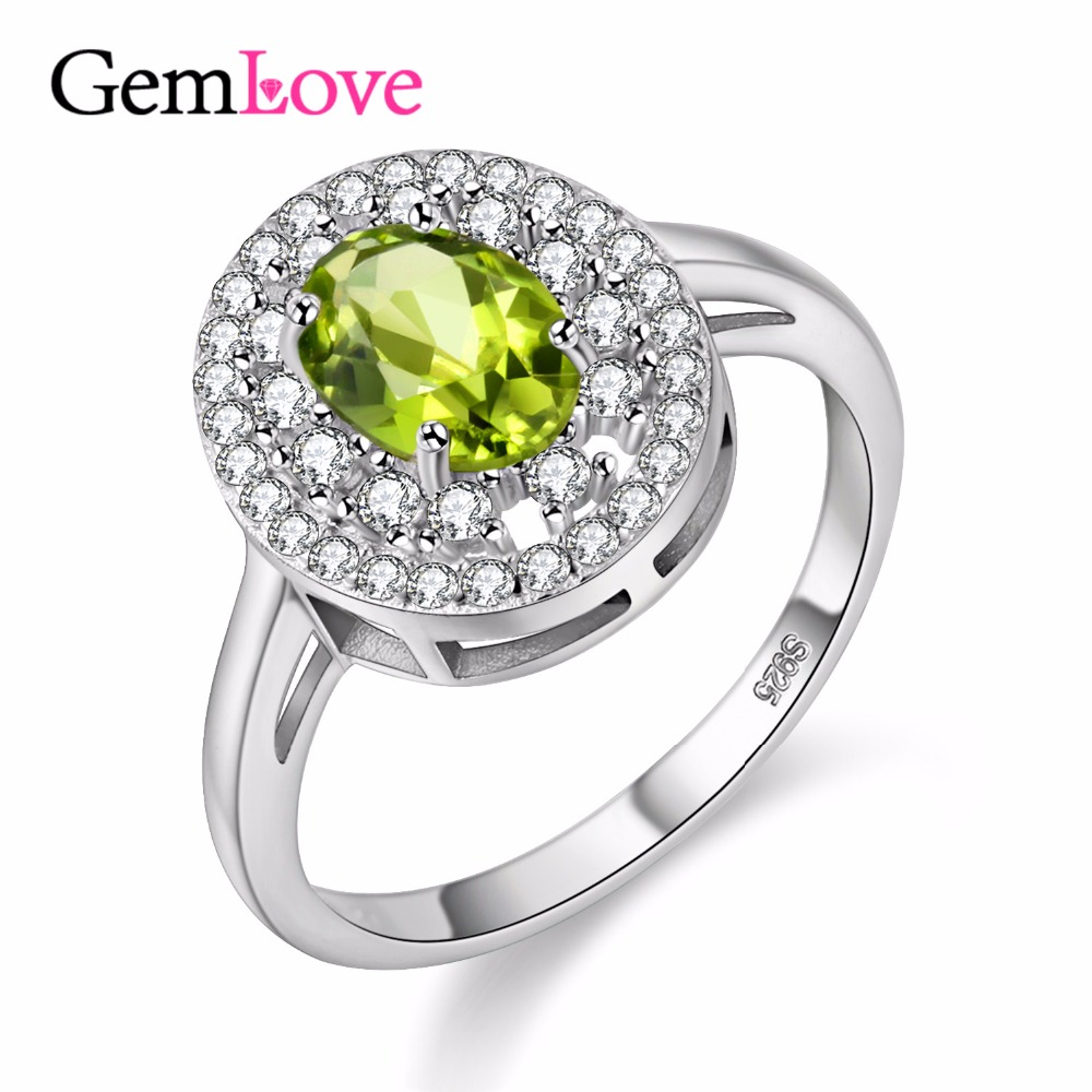 Gemlove Natural Peridot Engagment Ring Gemstone 925 Sterling Silver Rings  With Stone Finecostumejewelry With Box 40% Fj112