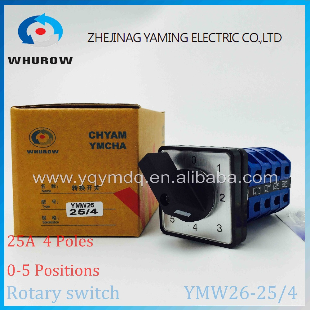 LW26 YMW26-25/4 Rotary switch knob 6 position 0-5 High quality changeover cam switch 25A 4 phase 16 terminals silver contact
