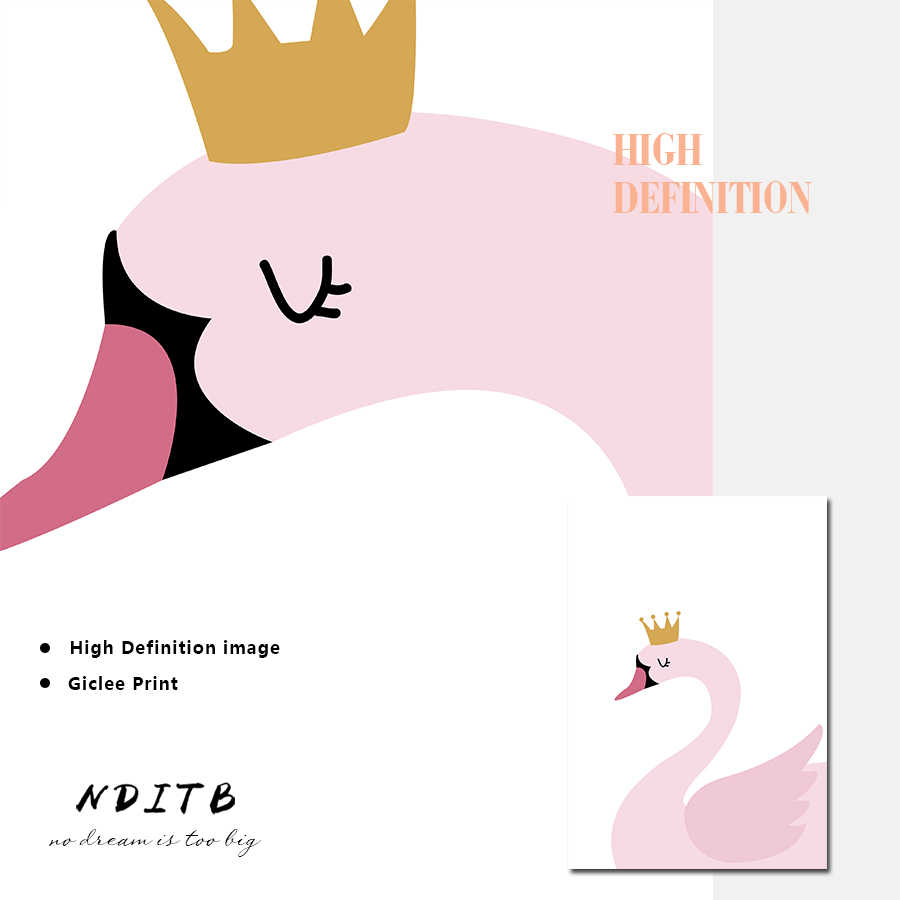 NDITB персональное имя на заказ плакат мультфильм розовый Лебедь детская печать живопись, декоративная картина для маленьких девочек Декор для гостиной
