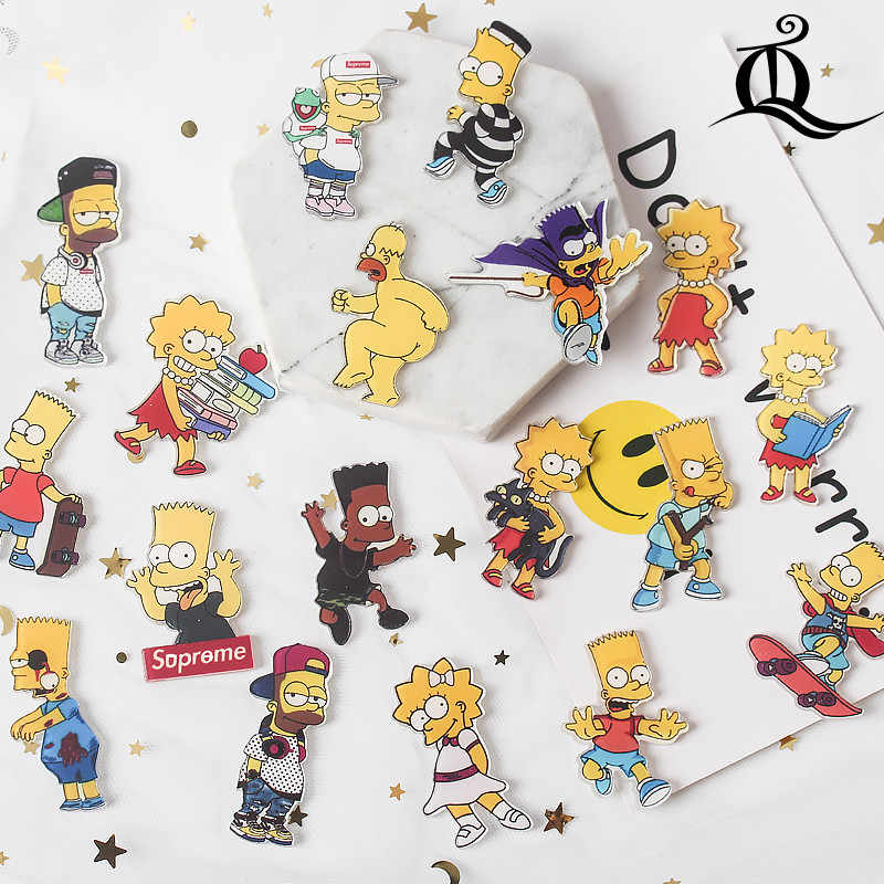 1 PC the Simpsons Shirt Cute Cartoon spilla Acrilico Distintivo Spilli Bag Packbag Decorazione di Frutta Animale cane di superman Spilla Broch z77