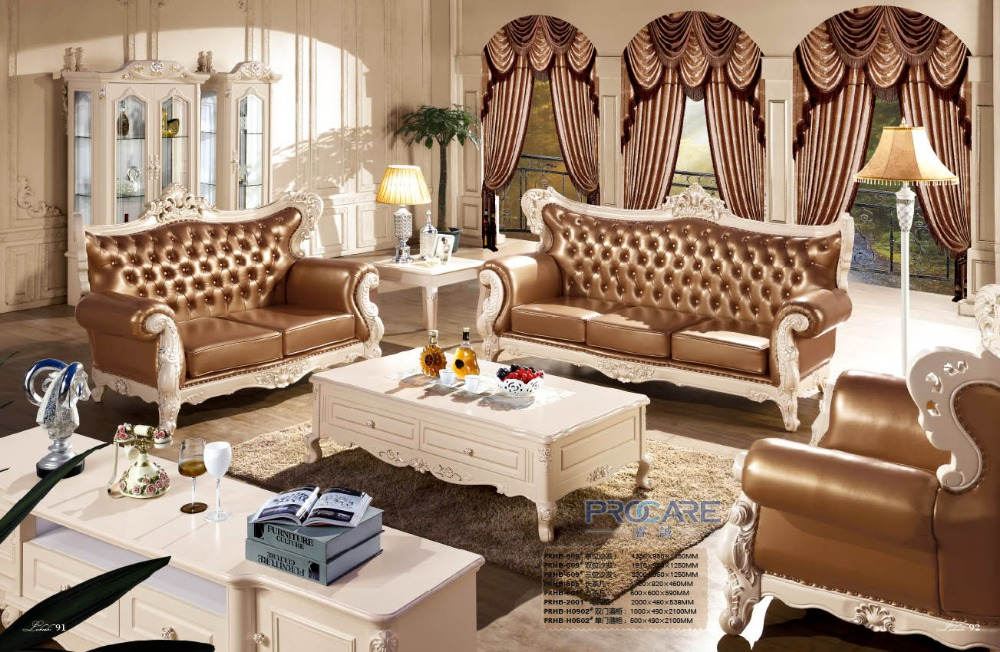 2016 New Real European Style No Chaise Armchair Luxury Modern Italian Style  Leather Sofa Set For Living Room Furniture Prf609