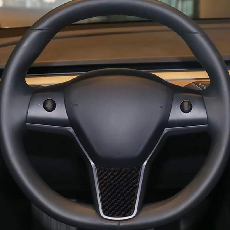 Image 3 - For Tesla Model 3 Car Carbon Fiber Steering Wheel Decoration Cover Sticker-in Automotive Interior Stickers from Automobiles & Motorcycles