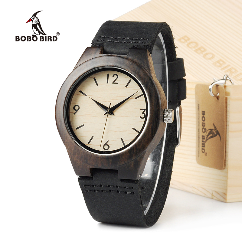 BOBO BIRD Ebony Wood Women Design Luxury Design Watch Casual Quartz Watch With Real Leather Strap In Gift Box bobo bird f08 mens ebony wood watch japan movement 2035 quartz wristwatch with leather strap in gift box free shipping