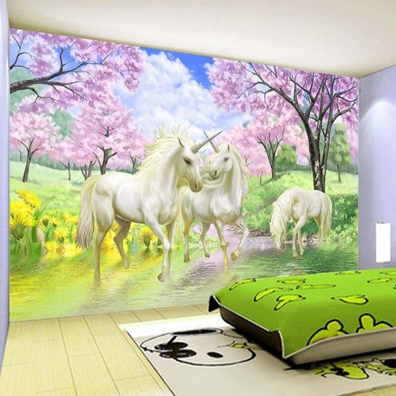 Beibehang Custom 3d Mural Unicorn Dream Cherry Blossom Tv