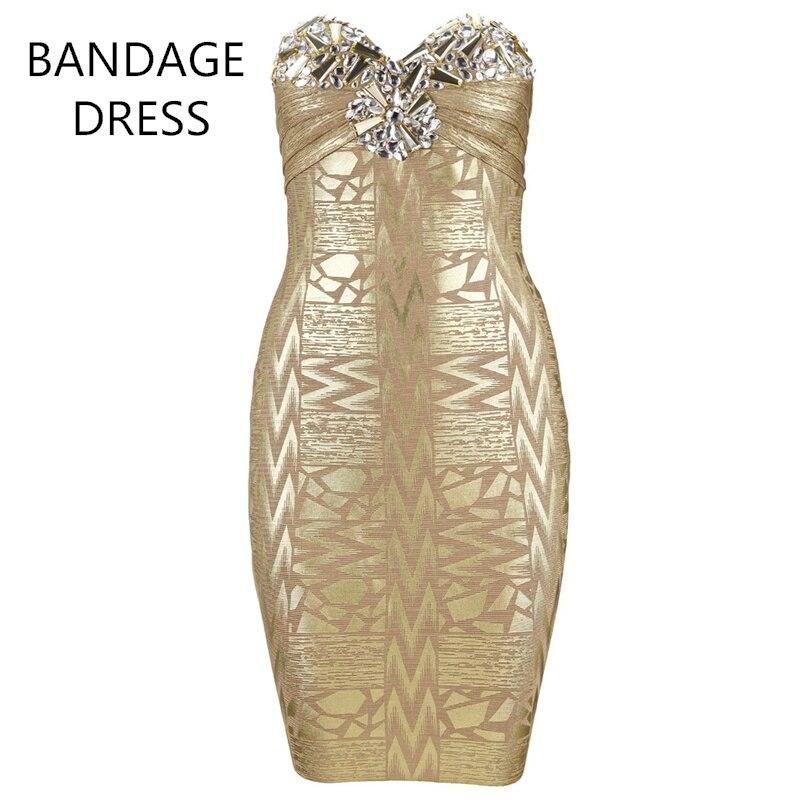 2017 תחבושת שמלה למעלה איכות זהב שחור אדום כסף זהב תמהיל שחור סיטונאי שמלת תחבושת HL סטרפלס חרוזים קריסטל J376