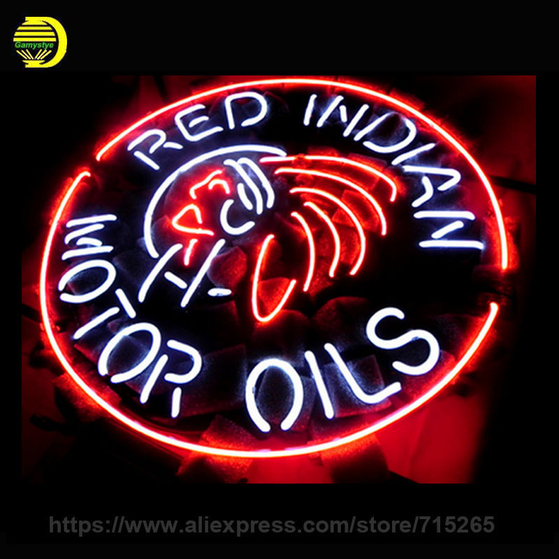 """NEON SIGN For RED INDIAN MOTOR OILS Signboard REAL GLASS BEER BAR PUB display RESTAURANT <font><b>Light</b></font> Signs 17*14\"""" glass neon signs"""