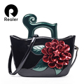 2016 Realer new brand design fashion print women handbag floral Women messenger bags shoulder Bags handbags casual bag
