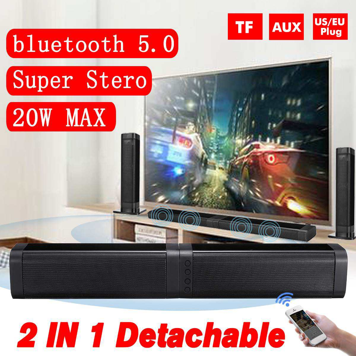 2 PCS 20 W Drahtlose bluetooth Soundbar Stereo Lautsprecher Heimkino <font><b>TV</b></font> <font><b>Sound</b></font> <font><b>Bar</b></font> Super Bass 4D Stereo Surround <font><b>Sound</b></font> system image