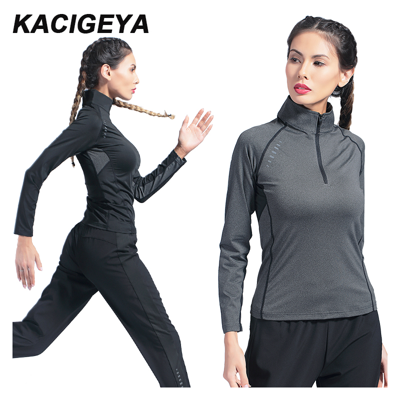 Yoga Fitness Zipper Reflective Shirts Long Sleeve Running Jacket Gym Women 2019 Top Quick-drying Female Breathable Tee