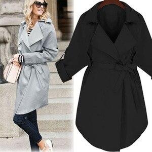 Image 4 - LANMREM 2020 Spring New Fashion Casual Women Long Coat Solid Color Loose Large Size Belt Windbreaker TC113