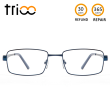 TRIOO Metal Blue Reading Prescription Mens Glasses Graduate Computer Myopia Degree Eye Glasses Square Astigmatism Spectacles