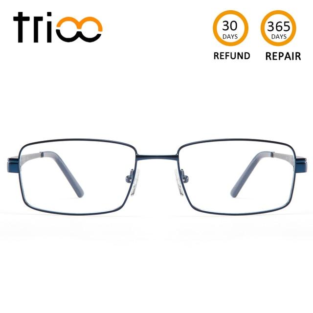 TRIOO Metal Blue Reading Prescription Mens Glasses Graduate Computer Myopia Degree Eye Glasses Square Astigmatism Spectacles