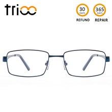 TRIOO lunettes de lecture pour hommes, métal bleu, Prescription avec diplôme dordinateur, degré de myopie, carré, astigmatisme