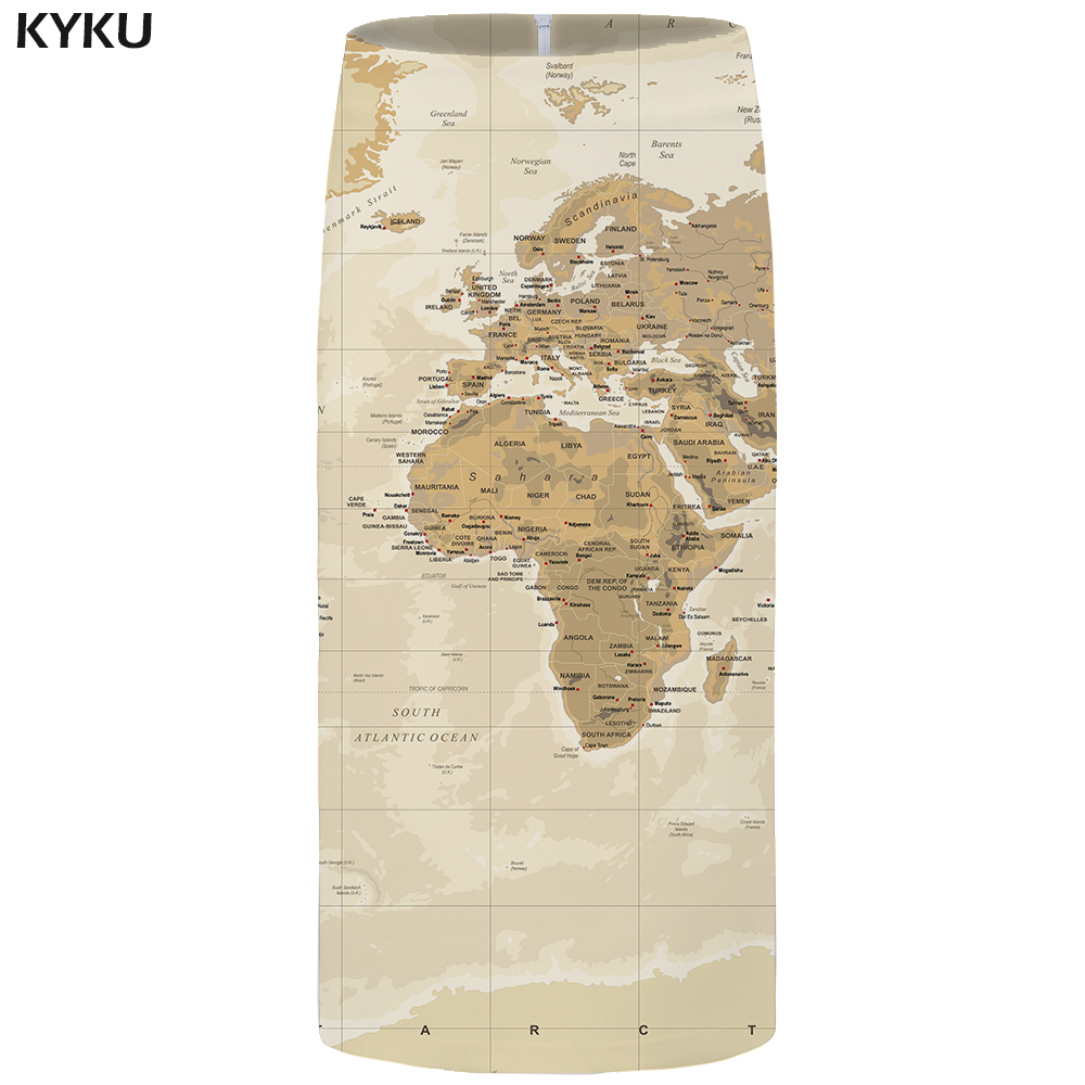 Kyku Brand Map Skirts Women Vintage Party Gray Sexy 3d Print Plus Size Floral Ladies Skirts Womens Cool Korean Large Size