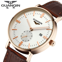 Original GUANQIN Men Watch Sapphire Crystal Ultra thin Fashion Casual Men Watch Logo Leather Strap Shockproof Waterproof Watches