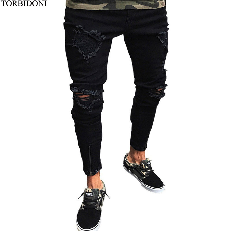 Retro Hole Jeans Men Distressed Skinny Jeans Homme Fashion 3XL Bottom Zipper Denim Harajuku Streetewar Full Ripped Beggar Pants