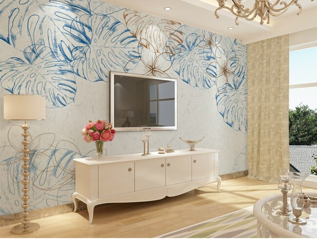 Custom retro wallpaper, color leaf flower murals for the living room bedroom TV background wall waterproof papel de parede 3d large mural papel de parede european nostalgia abstract flower and bird wallpaper living room sofa tv wall bedroom 3d wallpaper