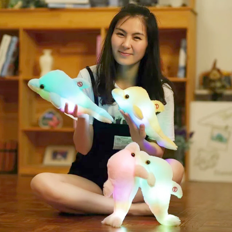 1pc 32cm Creative Luminous Plush Dolphin Doll Glowing LED Light Plush Animal Toys Colorful Doll Pillows Kids Children's Gift creative led light pillow cushion night light cute glowing dolphin stuffed luminous plush doll toy girl birthday kids gift