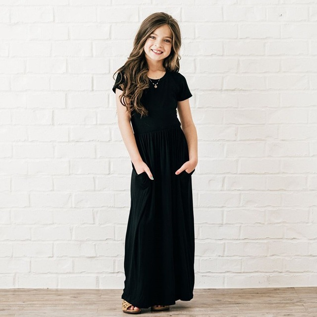 8 Colors Lovely Maxi Dresses For Baby Girls Short Sleeve Spring Summer Beach Dress Kids Party Princess Dress For 3-10 Years